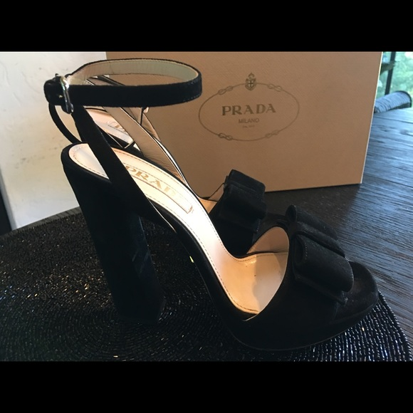 689be1500 Prada Shoes | Black Suede Ankle Strap Platform By | Poshmark
